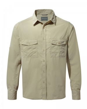 Craghoppers Men's Kiwi Long-Sleeved Shirt - Oatmeal