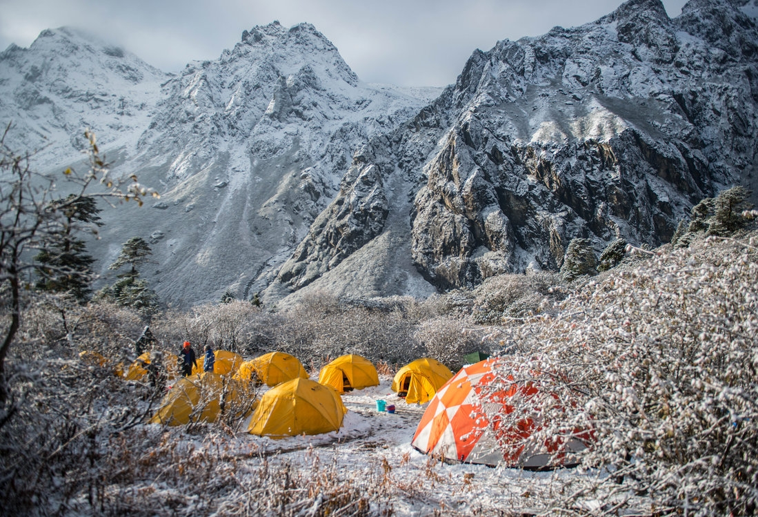 high mountain camp in the Himalayas