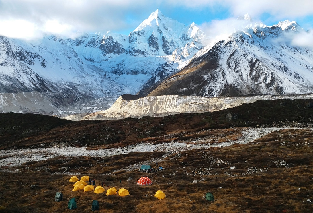 high altitude campsite in the mountains of sikkim